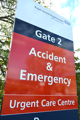Link to contact information for the RUH Accident and Emergency Department
